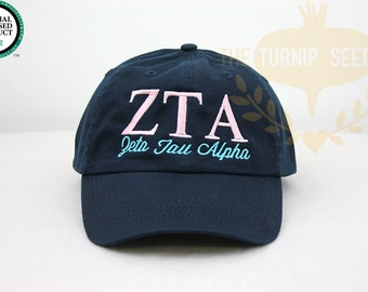 Zeta Tau Alpha Sorority Baseball Cap - Custom Color Hat and Embroidery.