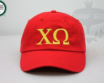 Chi Omega Greek Only Sorority Baseball Cap - Custom Color Hat and Embroidery.