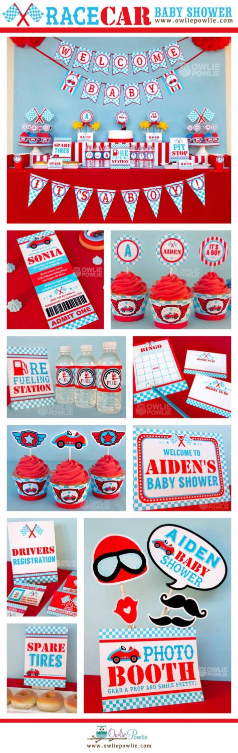blue race car baby shower party printable package