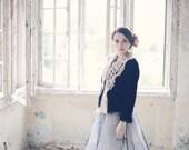 womens shawl  - scarflette - lace shawl - knit shawl - neck warmer - hand knit shawl - fashion scarf - unique gift - avant garde clothing
