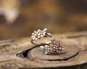 Dainty Floral Open Ring Colorful Flower Adjustable Ring Free Size Plated Jewelry gift idea
