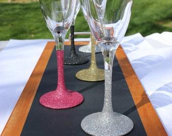 Glittered Champagne Glasses