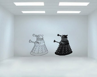 One Sci-fi art inspired by Dr. Who Dalek robot vinyl wall decal - removable vinyl decal / sticker for playroom, kids room decor
