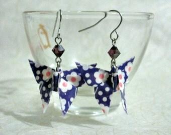 Origami Earrings - Paper Earrings - Butterfly Earrings - Origami Jewelry - Paper Jewelry - February Birthstone - WC04