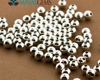 50pc, 5mm Beads, 5mm Sterling Silver Beads, Silver Beads, Round Seamless Beads, US Made, High Polished, Wholesale silver