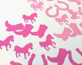 Pink Cowgirl shapes, embellishments. Pony party, horse birthday theme, scrapbooking, DIY craft, card making, table confetti, decorations.