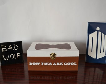 Doctor Who Bow Ties Are Cool 11th Doctor Hand Painted Wooden Keepsake Jewelry Box