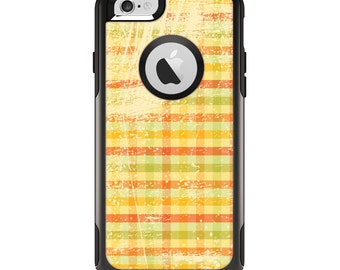 The Scratched Yellow Faded Plaid Apple iPhone 6 Otterbox Commuter Case Skin Set