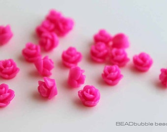 7.5mm Tiny Bright Hot Pink Resin Rose Flower Flat Back Cabochons Pack of 20 (CAB307)