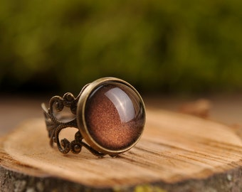 Filigree ring, brown ring, adjustable ring, statement ring, antique brass ring, glass dome ring, antique bronze ring, jewelry gift