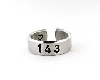 143 with Secret Heart Ring, Aluminum I Love You Ring, Love Jewelry, Lovers Girlfriend Gift, Numerical Love