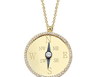 Compass 14k Solid Gold Necklace