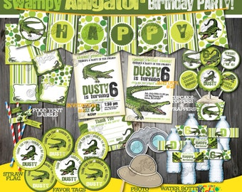 Alligator Party package, Printable Alligator Birthday party Decoration, Swamp birthday, Swamp party, Alligator Party Printable