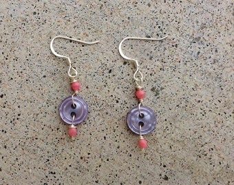Antique  Lavender Button Earrings with Pink Beads