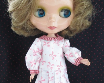 Blythe Doll Outfit Long Sleeve Pink Bow White Dress