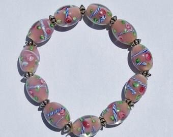 Pink Lampworked Beaded Bracelet