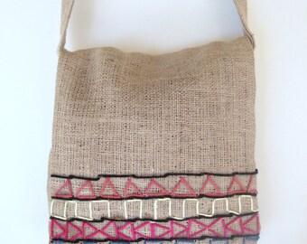 Tribal Burlap Messenger Bag