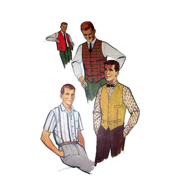 """1960s Mens Shirt & Vest Simplicity 4160 Mens Size 38 Neck 15"""" Vintage Sewing Pattern Uncut"""