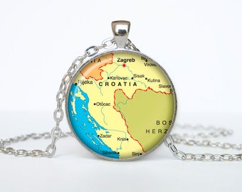 Croatia map pendant, Croatia map necklace, Croatia map jewelry, Croatia
