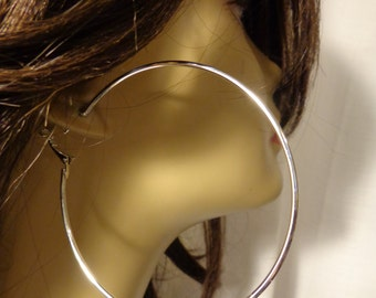 LARGE 3 inch Hoop Earrings SILVER tone Classic Thin Hoop Earrings