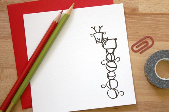 5 x 5 Christmas card- reindeer- red- holiday gift- note