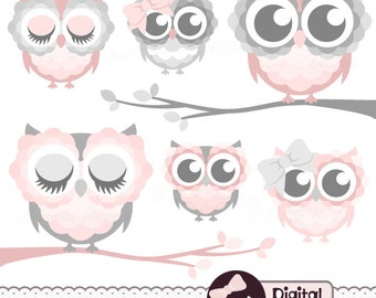 "Pink and Grey ""Owl on Branch"" Clipart, Cute Owl Clip Art, Baby Shower Graphics"