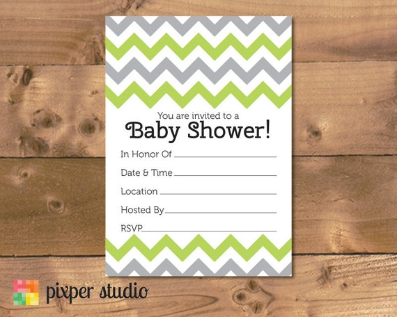 baby shower fill in invitation green and grey fill in baby shower