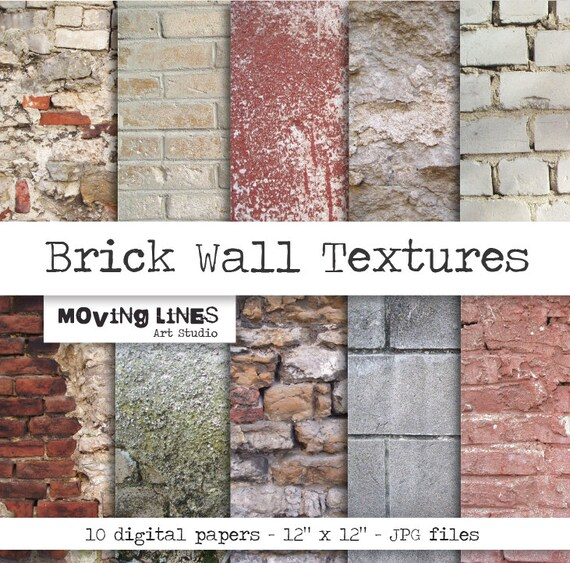 Contrast Between Stone And Plaster Finish: Brick Wall Digital Paper Pack Shabby Stone By MovingLines