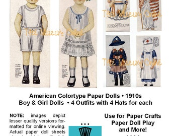 Paper Doll Antique American Colortype Boy + Girl Paper Dolls & Outfits Ephemera Paper Craft Collage Sheet PDF _ Digital Download BONUS Guide