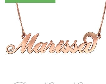 "Carrie Name Necklace in 10k Rose Gold (1.3mm thick) - 3D ""Marissa"" Design"