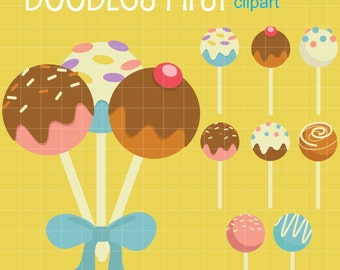 Cake Pops Digital Clip Art for Scrapbooking Card Making Cupcake Toppers Paper Crafts