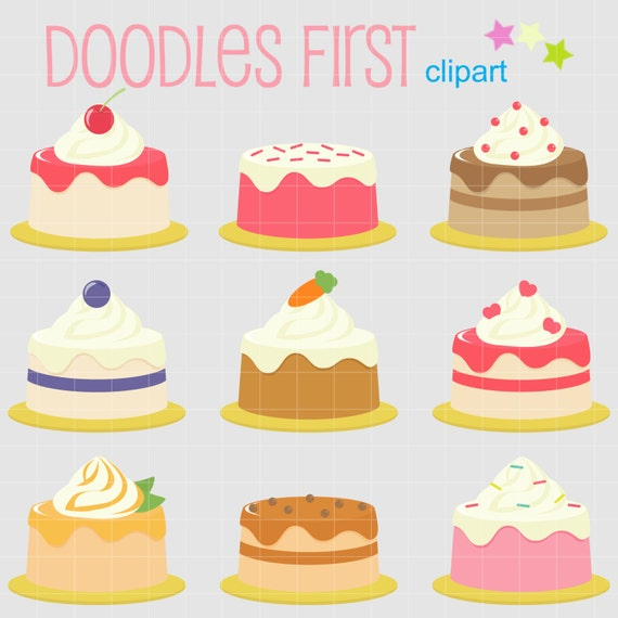 Small Cake Clipart : Small Cakes Digital Clip Art for Scrapbooking Card Making