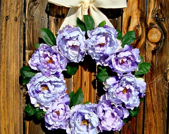 Peony Wreath - Spring Wreath - Purple Wreath - Wreaths - Door Wreath - Spring Wreaths