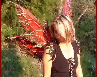 Adult Fairy Wings**Red/Black/Gold**FREE SHIPPING**/Renn Faires/Costume/Photography/Masqerade/Weddings