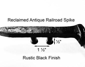 "1 1/2"" Right Black Railroad Spike Cupboard Handle Dresser Drawer Pull Cabinet Knob Antique Vintage Old Rustic Re-purposed House Restoration"
