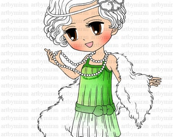 Digital Stamp - Brittany 1920's Flapper(#17), Coloring page, Digi Stamp, Printable Line art for Card and Craft Supply, Art by Mi Ran Jung