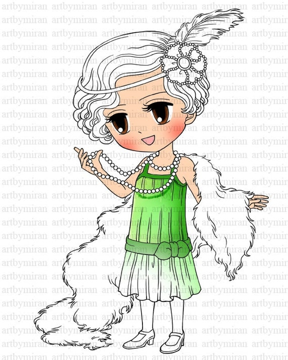 Digital Stamp - Brittany 1920's Flapper, Coloring page, Digi Stamp, Printable Line art for Card and Craft Supply, Art by Mi Ran Jung