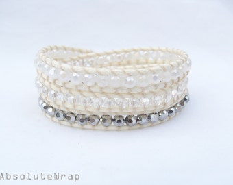 White silver crystal wrap bracelet on soft polyester cord, triple  wrap bracelet, crystal wrap bracelet