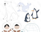Arctic Friends Clip Art Polar Bear, Penguins, Seal, Eskimos, Igloo