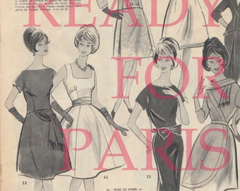 Instant download 1950s vintage ads for dress : French magazine fifties advertising digital woman paris clothes