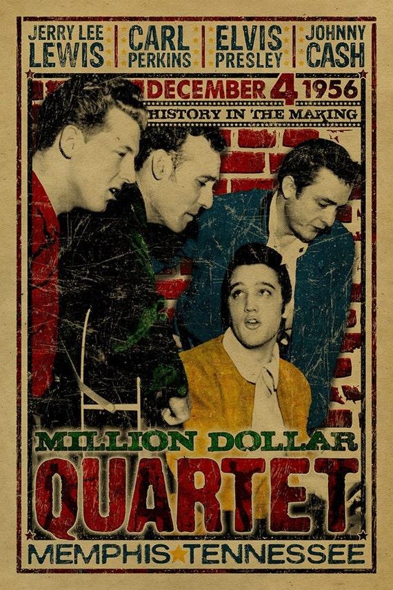 the million dollar quartet poster johnny cash jerry lee. Black Bedroom Furniture Sets. Home Design Ideas