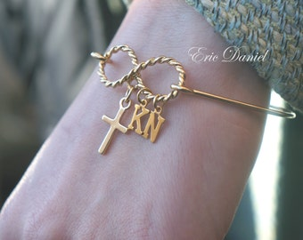 Personalized Infinity Cross Bangle Bracelet, Choose Your Initials, Cross Bangle, Infinity Bangle, Gold Bangle, Infinity Bracelet, Gold Cross