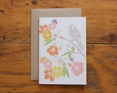 Spring Blossom & Birdsong - Floral Greeting Card - Blank