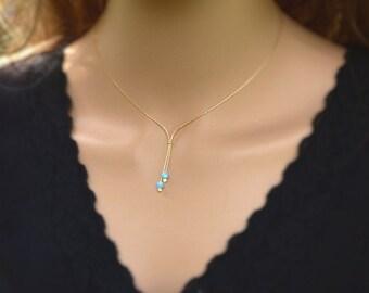 Bead Necklace, Opal Bead Necklace ,Gold Necklace, Gold gemstone Necklace, Tiny Bead Necklace ,Blue Opal Lariat necklace ,Bead Jewellery.