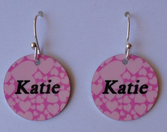 Personalized NAME EARRINGS with YOUR Name or Photo - Custom Charm Earrings - Fun!!!