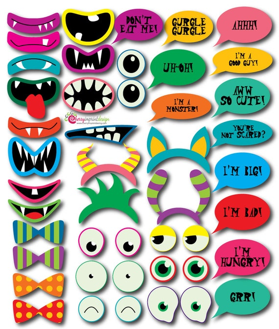 39 Hilarious Instant Download Monster Photo Booth Props Great