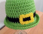 Crochet Leprechaun Green Buckle Hat for Saint Patrick's Day Luck of the Irish Newborn Baby Toddler Child Adult
