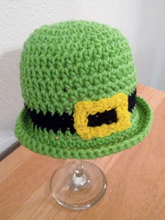 Crochet Pattern Leprechaun Hat : Items similar to Crochet Leprechaun Green Buckle Hat for ...