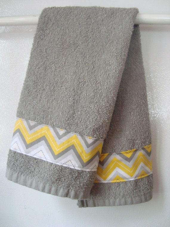 Hand towel gray yellow chevron hand towel handmade grey and - Decorative hand towels for bathroom ...