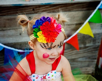 Rainbow Flower Cluster Headband